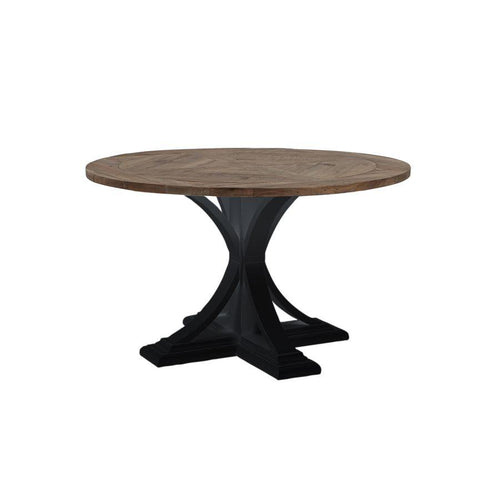 Riviera Round Dining Table Black With Wood Top furniture nz