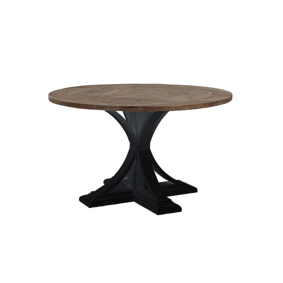 Riviera Round Dining Table - Black With Wood Top  Furniture nz