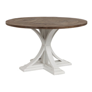 Riviera Round Dining Table - White With Wood Top  Furniture nz