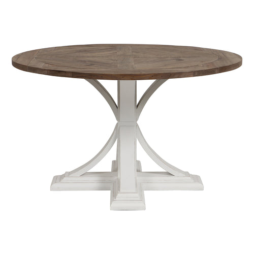 Riviera Round Dining Table White With Wood Top furniture nz