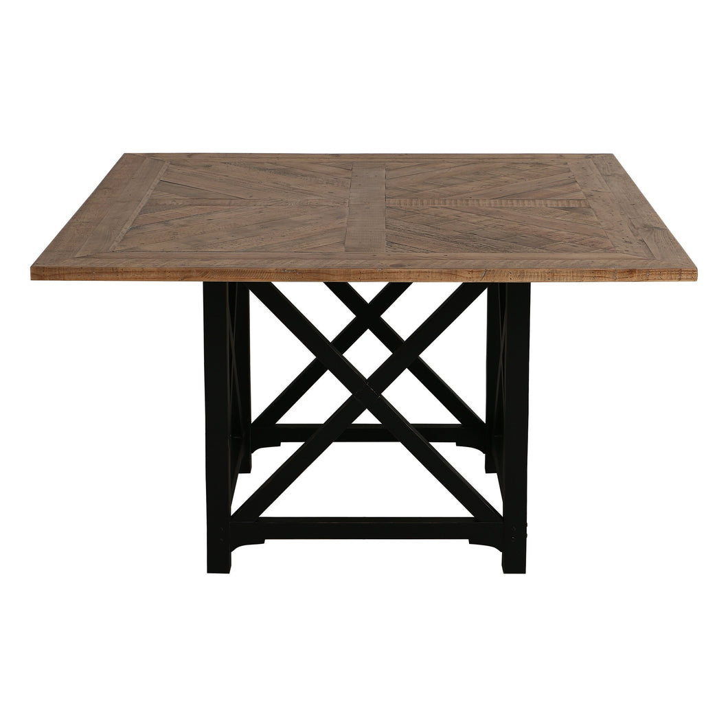 Riviera Square Dining Table - Black With Wood Top Furniture nz