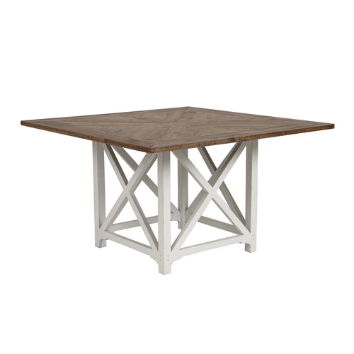 Riviera Square Dining Table White With Wood Top furniture nz
