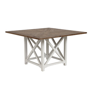 Riviera Square Dining Table - White With Wood Top  Furniture nz