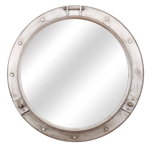 Round Nickel Nautical Mirror 72cm  Homewares nz