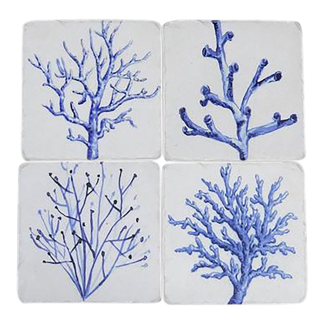 Set Of 4 Blue Coral Coasters Homewares nz