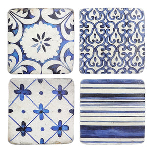 Set Of 4 Blue & White Coasters  Homewares nz