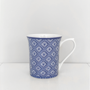 Stucco Fine Bone China Mug - Blue & White Homewares nz