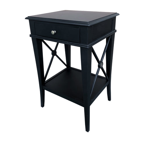 Chateau Bedside Table - Black  Furniture nz