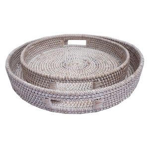Round White Wash Rattan Tray - Small Homewares nz