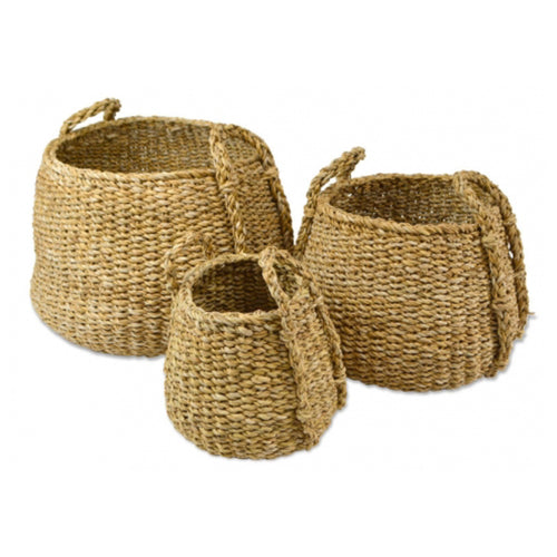 Tapered Round Seagrass Basket With Handles 24cm - Medium