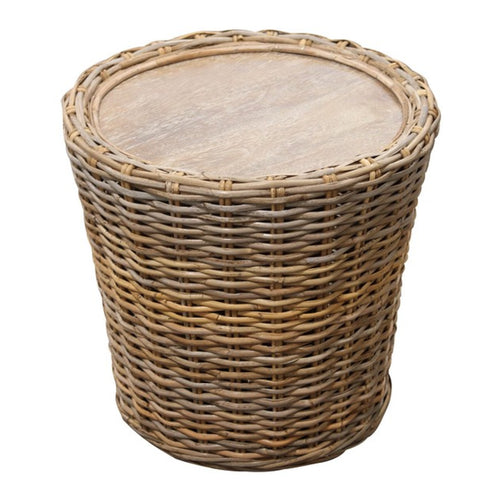 Bahamas Rattan Drum Side Table  Furniture nz
