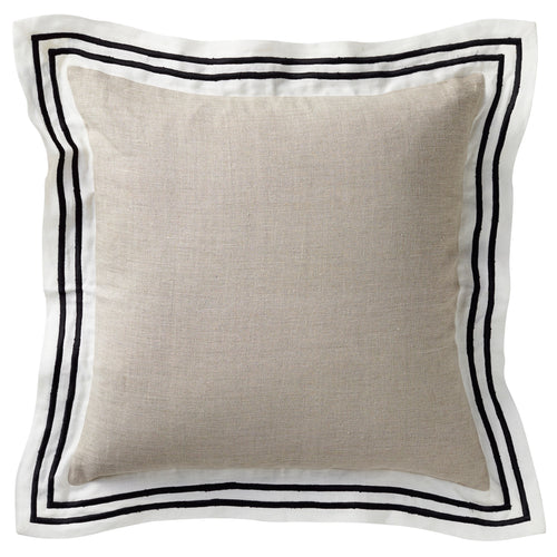 Milano Linen Cushion 50x50cm - Natural & Black