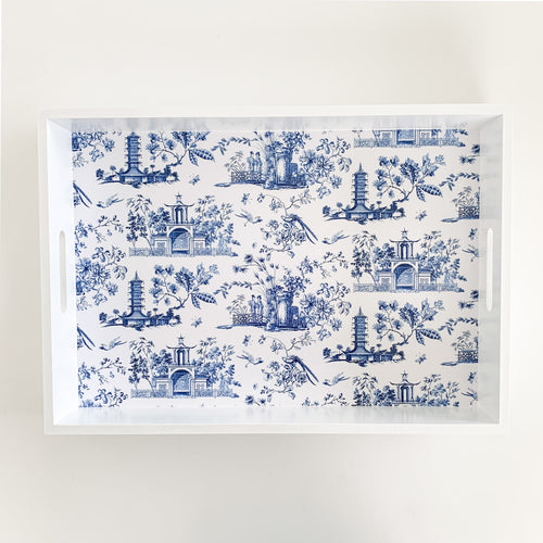 Rectangle Wooden Chinoiserie Tray 42cm - Blue & White Homewares nz