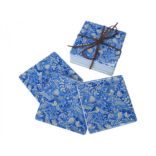 Set Of 4 Festive Blue Bird Coasters