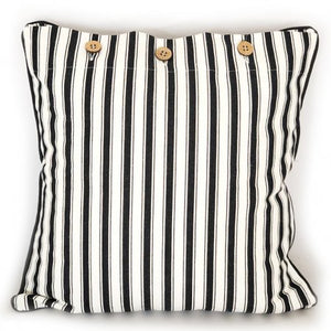 Attic Stripe Cushion 40x40cm - Black & White Homewares nz