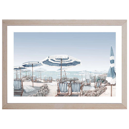 Beach Parasols Print In Light Wood Frame  Homewares nz