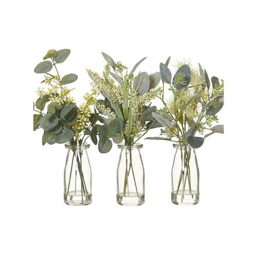 Wild Flowers Mix In Glass Jar 31cm (Assorted) - Green & White