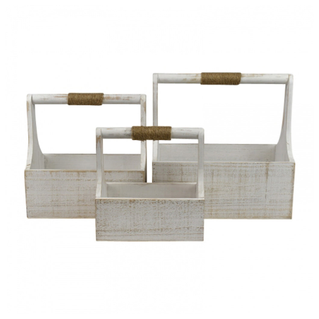 Sage White Washed Wooden Caddy With Twine - Medium