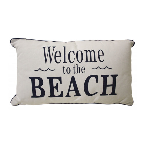 Welcome Beach Stripe Cushion 30x50cm Homewares nz