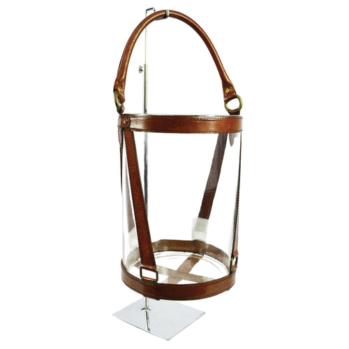 Round Leather & Glass Hurricane 30cm - Tan