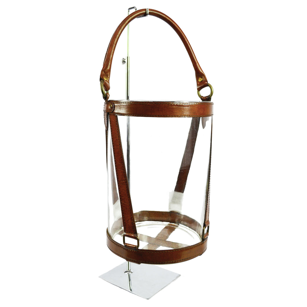 Round Leather & Glass Hurricane 30cm - Tan Homewares nz