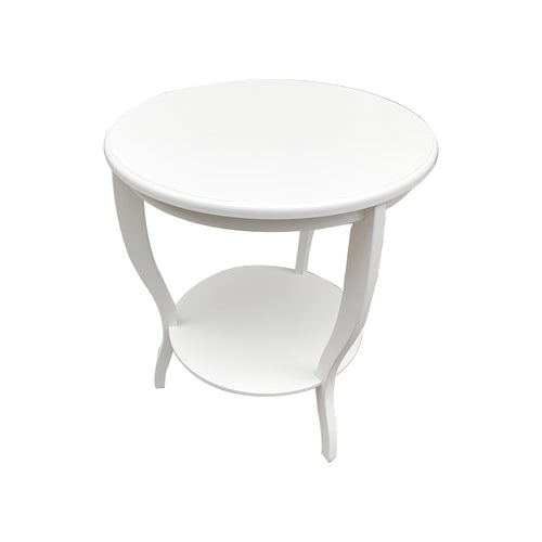 Hamptons Round Curved Leg Side Table - White  Furniture nz