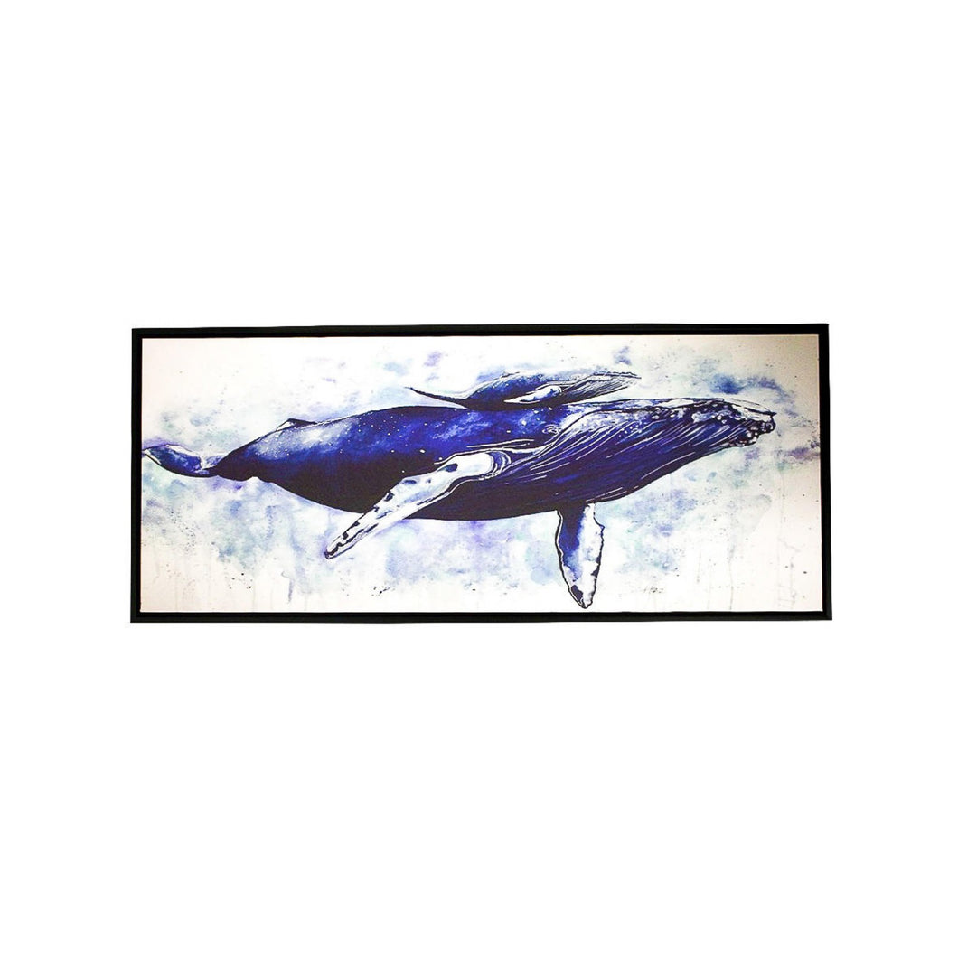 Mum & Baby Whale Canvas In Black Frame 130cm