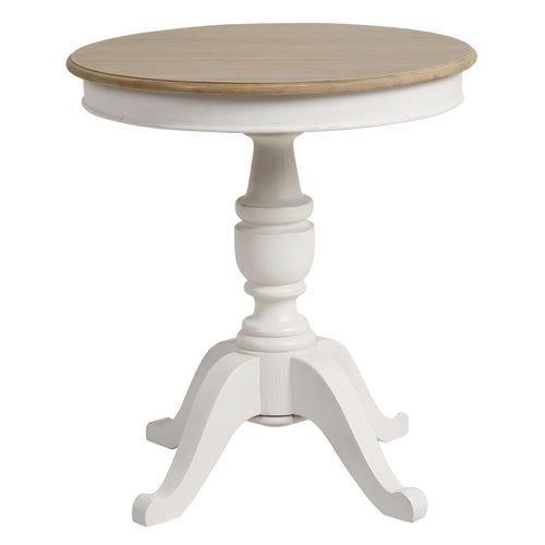 Parisian Pedestal Table 70cm - White With Ash Wood Top