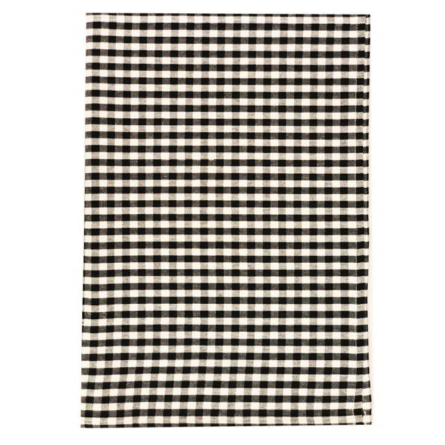 Gingham Check Cotton Tea Towel 50x70cm - Black & White