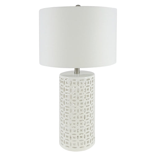 Bianca Trellis Table Lamp With White Shade 70cm - White Homewares nz