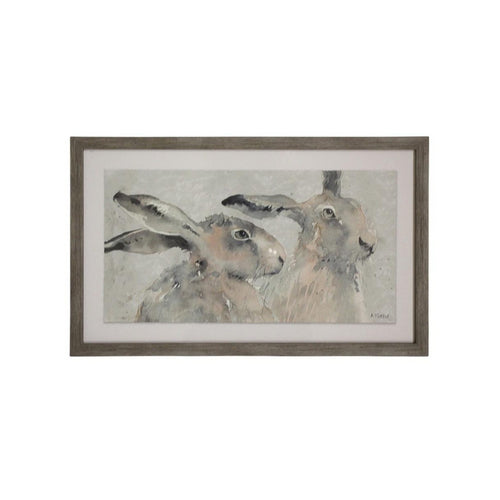 Pair Of Rabbits Print In Natural Frame