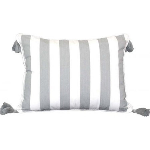 Amalfi Tassel Cushion 40x55cm - Grey & White Stripe  Homewares nz