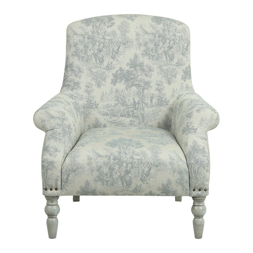 Provincial Rafael Occasional Chair - Grey Toiley De Jouy / White Legs