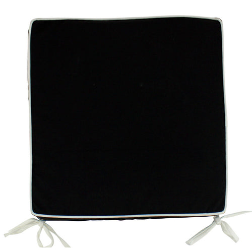 Black Outdoor Chair Pad With White Piping 42x42cm Homewares nz