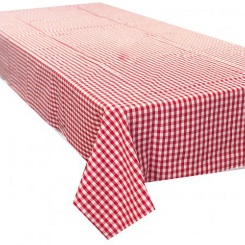 Gingham Check Large Rectangle Tablecloth 150x320cm - Red & White