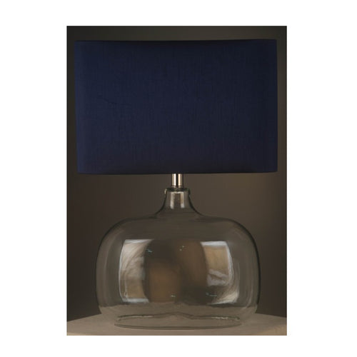 Torquay Glass Dome Lamp With Navy Shade  Homewares nz