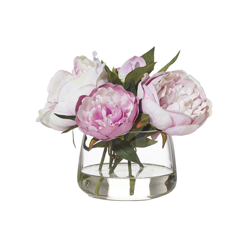 Peony In Rounded Bowl 28cm - Light Pink