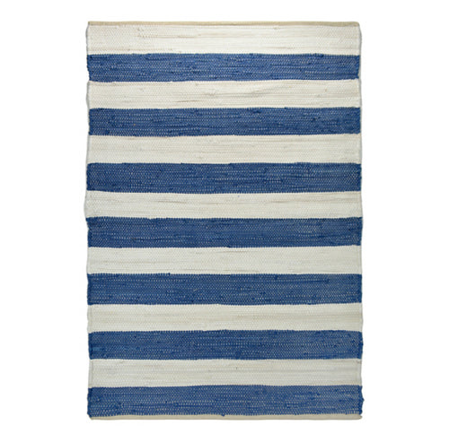 Chindi Rug 120x180cm - Blue & Off-White Stripe  Homewares nz
