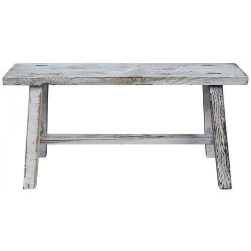 White Washed Mini Bench