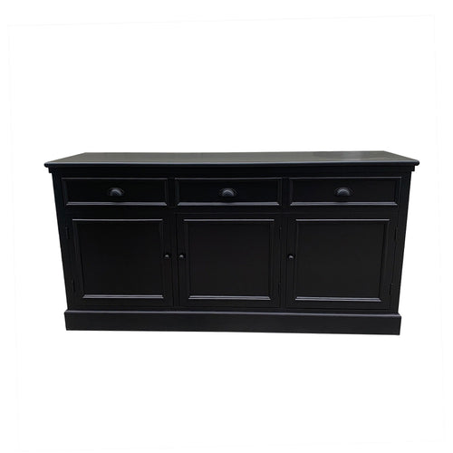 Hamptons 3 Door Buffet - Black