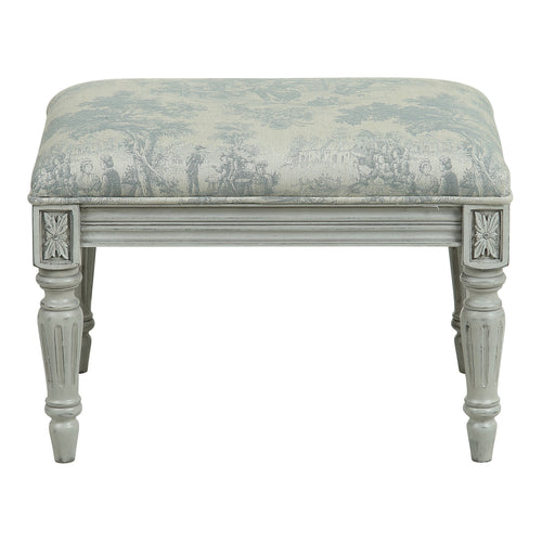 Provincial Pouffe Footstool - Grey Toiley De Jouy / Soft Grey Legs