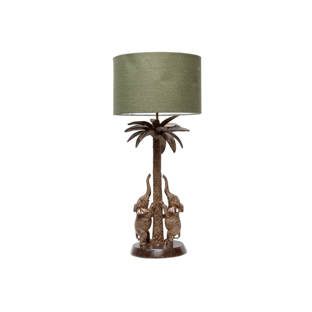Elephants On A Palm Table Lamp 74cm