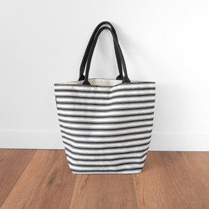 Attic Canvas Tote Bag With Purse - Black & White Stripe  Homewares nz
