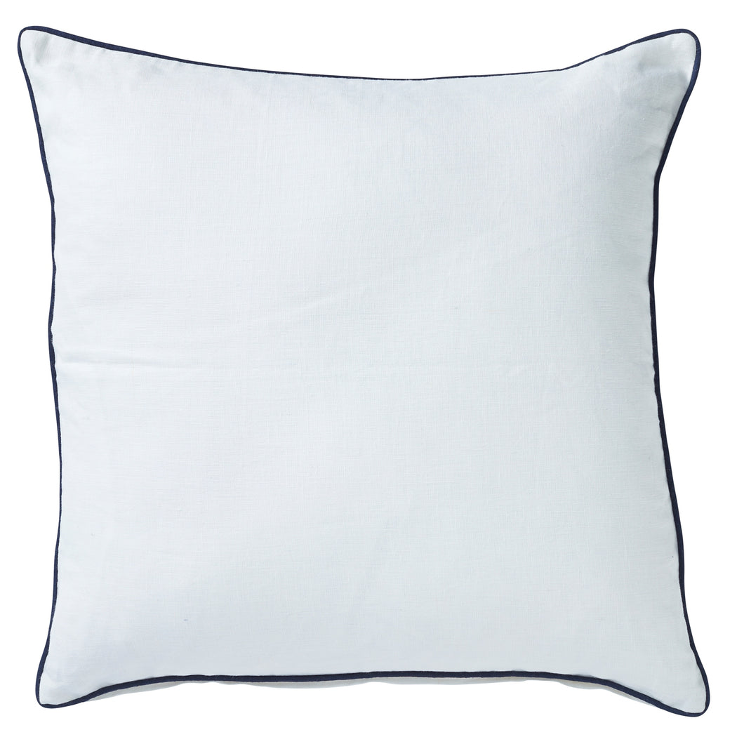 White Linen Cushion With Navy Piping 60x60cm