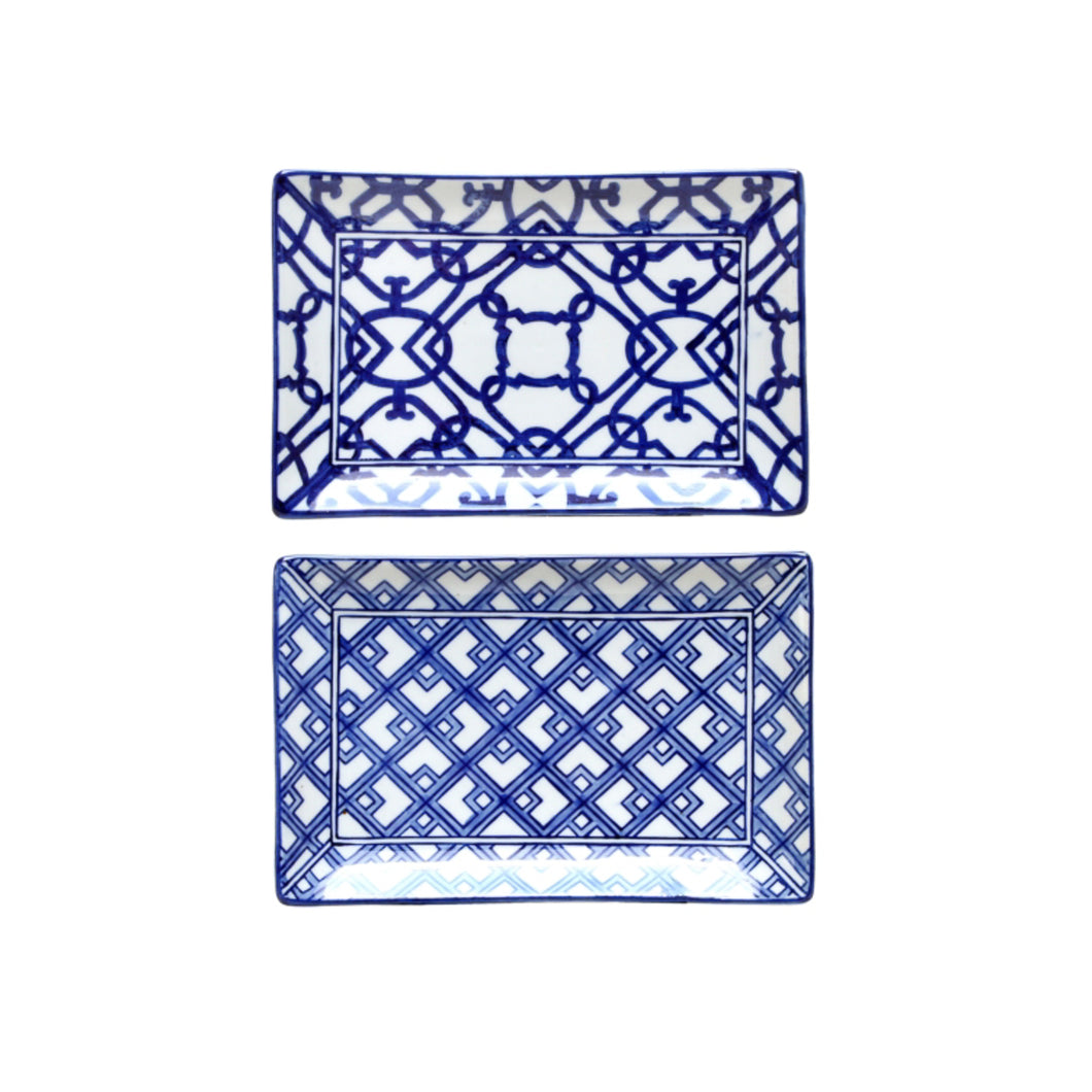 Rectangle Plate Blue & White (Assorted)