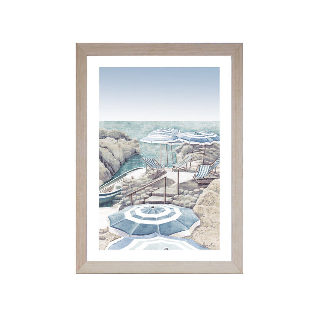 Beach Parasols By The Coast Print In Light Wood Frame 72x102cm Homewares nz