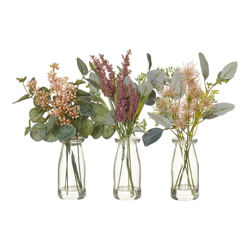 Wild Flowers Mix In Glass Jar 28cm (Assorted)  Homewares nz