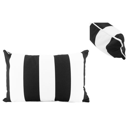 Black & White Stripe Outdoor Lumbar Cushion 30x50cm Homewares nz