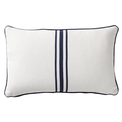 Striped Cushion With Piping 30x50cm - Navy & White Homewares nz