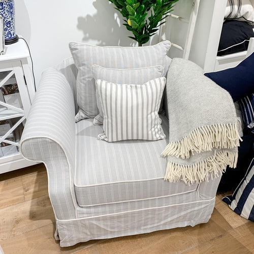 New England Armchair In Grey With Stripes